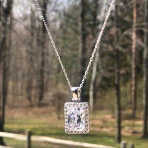 Jewelry - 925 Silver White Gem Ice Cube CZ Diamond Pendant
